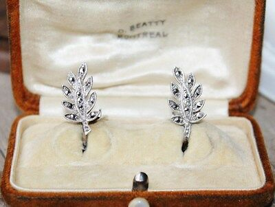 ART DECO Vintage Signed MAPPINS Sterling Silver Marcasite LEAF clip on earrings