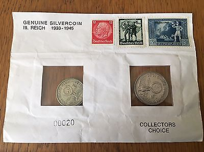 2 Third Reich Nazi Germany SILVER Coins 1937 & 1938 with 3 Postage Stamps