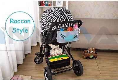 Pram Organizer Bag with Cup Holder for Pushchair Stroller Jogger RACCOON
