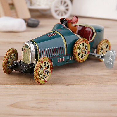 Vintage Metal Tin Sports Car with Driver Clockwork Wind Up Toy Collectible CU