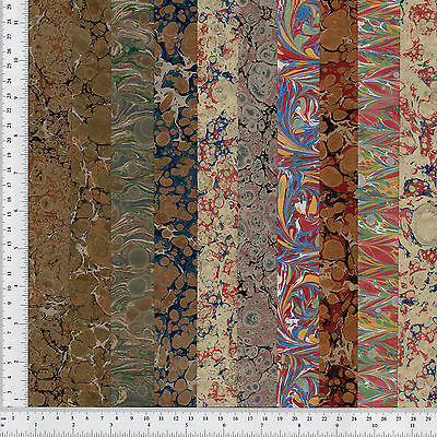 Hand Marbled Paper Set of 10, 10x36cm 4x14in Bookbinding Restoration