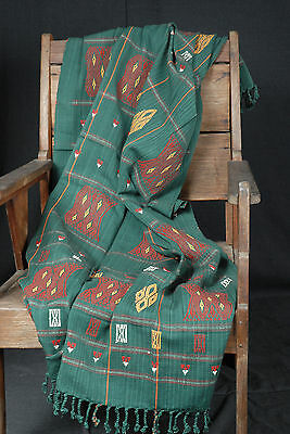 Tribal Naga fabric hand woven cotton boho textile forest green tapestry SUN9