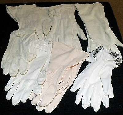 Lot of 7 Pairs Vintage Gloves White Pink Cotton Poly blends All Have Issues