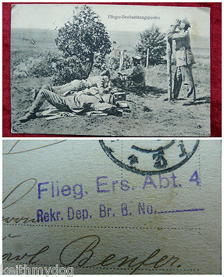 WW1 German Military Feldpost-Flieger Unit-Soldiers with Phones Plane Spotting