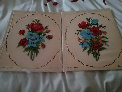 2 x completed floral cross stitch pictures