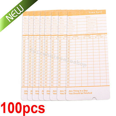 100xMonthly Time Clock Cards Attendance Payroll Recorder Timecard office Thermal