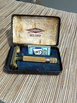 Gillette Milord Vintage Adjustable Razor In Case , Made in the USA, Gold