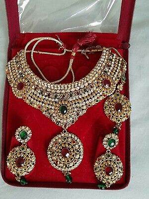 Indian red green kundan necklace set with tikka
