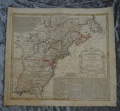 North America East Coast New York Great Lakes Engraving Map Homann 1777 #b900