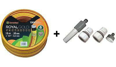 15m Heavy Duty Professional Garden Hose Pipe 6 Layers Non Kink YELLOW+Connectors