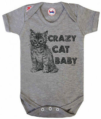 FUNNY Baby Grow Crazy CAT Baby Boys Girls Vest Baby Shower Funny Outfit Gift
