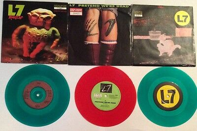 L7  Ltd Edition Numbered 7 Inch Single Collection X3 Coloured Vinyl Ex Con