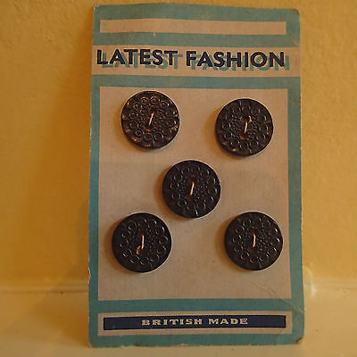 5 x Navy Blue wooden British made vintage buttons, complete set