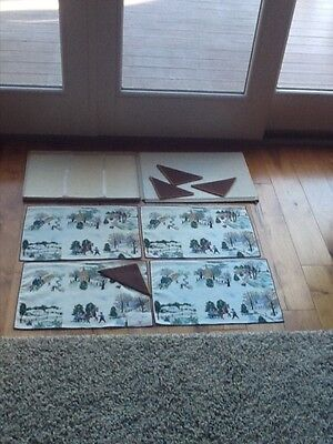 Vintage Grandma Moses 8 Piece Linen Placemats NEVER USED / MINT w/Box