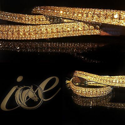 "Bling ICE Gold Luxury Browband Crystal Stones Sparkly. 3 Leather Colours 14""-18"""