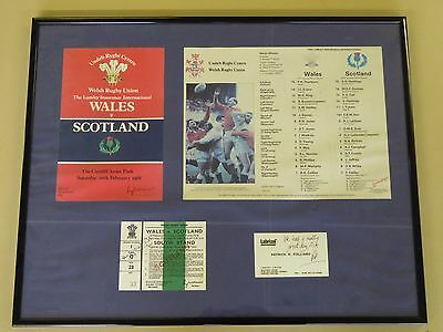 Welsh Rugby Union Framed Memorabilia Ticket Programme Wales Scotland 1988