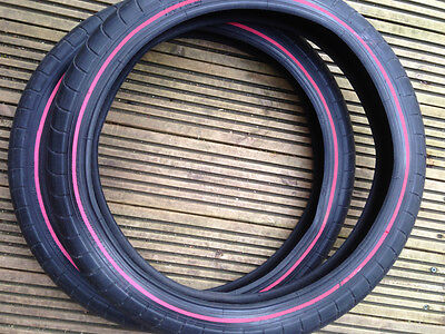ODYSSEY BMX TYRE / Tyres (pair) Chase Hawk 20x2.4 20x2.2 black RED Reflective
