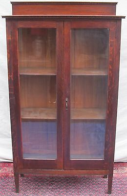 Antique Larkin Tiger Oak Double Glass Door Bookcase With Dental Carvings