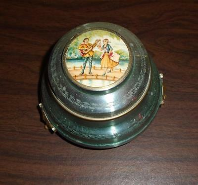 Vtg Green Aluminum Music Box Victorian Courting Scene Powder/trinket Box Plays
