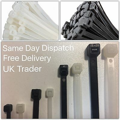 x100 High Quality Cable/Zip Ties, Tie Wraps - (100-300mm) in Black or Natural