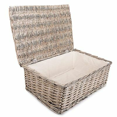 Empty Hamper Lined With Lid Wicker Storage Collection Display Gift Hamper Basket