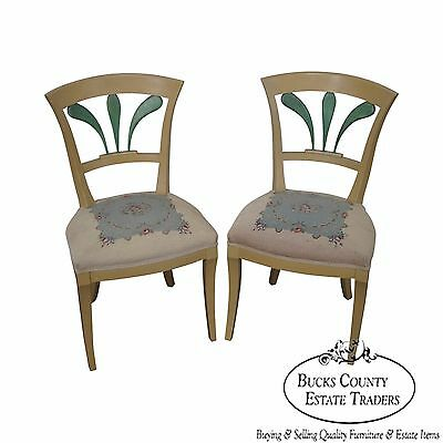 Antique 19th Century Pair of Biedermeier Style Painted Side Chairs