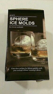 """Tovolo Sphere Ice Molds, Set of 2, 2.5"""" Cocktail Infuse, Cube Tray, New"""