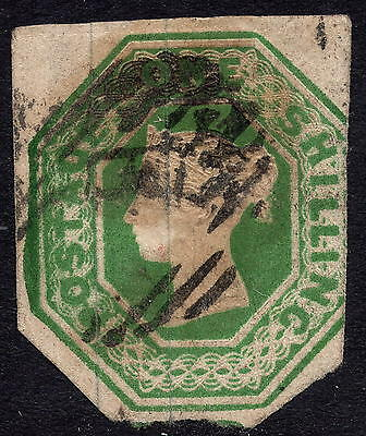 GB QV 1847 1/- Deep Green SG56 Embossed Issue Good Used Partially Cut to Shape