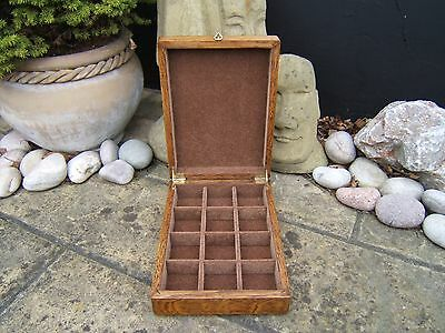 LOVELY 19c VICTORIAN OAK  ANTIQUE JEWELLERY/POCKET WATCH BOX - FAB INTERIOR