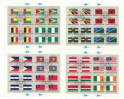 United Nations 1982 20c Flags (SG 383/98)fu 4 Sheets 3rd Series
