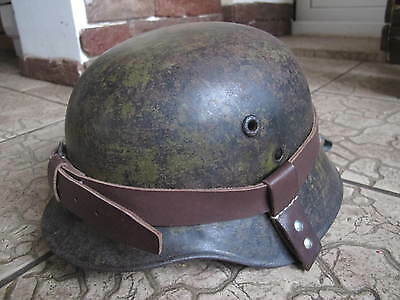 Ww2 German Helmet Leather Carrier. Nice Reproduction. Marked.