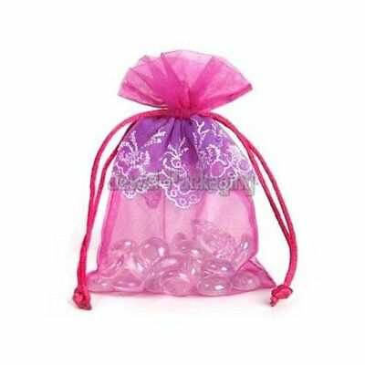 100 LACE Pink Organza Pouches Wedding Gift Jewelry Bags Drawstring 3.5 x 5.5""