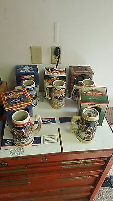 Lot Of 5 Budweiser Holiday Steins In Boxes  W/ Paperwork Giftware Edition