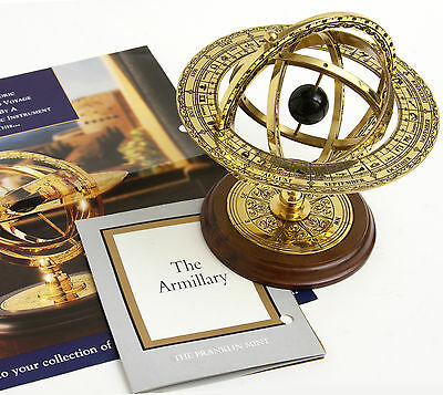 Franklin Mint Armillary Sphere Brass Scientific Instrument Skeletal Globe vtg