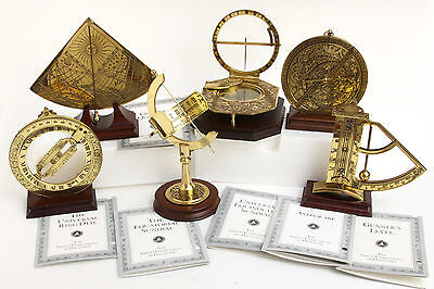 Full Set 6 Franklin Mint Great Instruments of Discovery Brass Lot Dial Complete