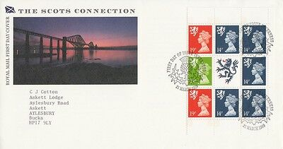 1989 £5 Scots Connection Prestige Stamp Book Pane - Inverness H/S FDC