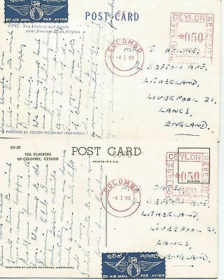 Ceylon Two 1960 Colombo Machine Cancels On Postcards Ref  670