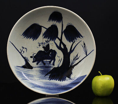 A BEAUTIFUL antique CHINESE BLUE & WHITE PORCELAIN PLATE MUSICIAN ON A COW 18TH