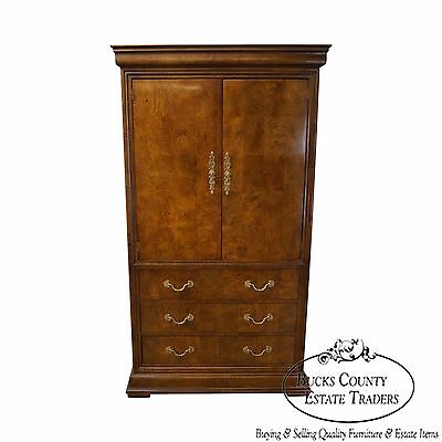 Henredon Charles X Burl Wood Armoire Cabinet