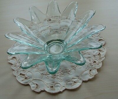 Green Glass Flower Style Bowl