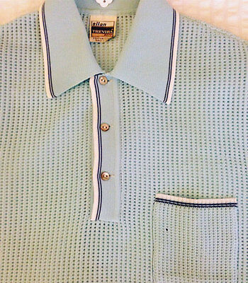 1960's Knitted Polo Shirt Small Mesh Net Vintage Rare Crocheted Mod Light Blue
