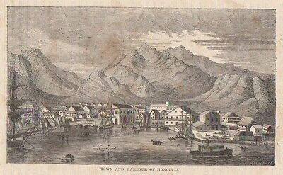 Antique engraving Town and Harbour of Honolulul by Pearson c1856
