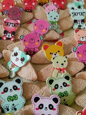 JOB LOT 10 HANDMADE TEDDY BEAR THEMED WOODEN  BROOCHES - party favours etc