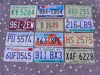 Mixed Lot 12 Old used License Plate Sign Exp. 1970-12 Man Cave Decor Craft Do