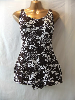 "LADIES VINTAGE St Michaels 40"" bust IVORY+CHOCOLATE FLORAL/PADDED CUPS/SWIMDRESS"