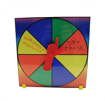 Prize Wheel Party Game w/ Pointing Spinner Customize with Dry Erase or Washable