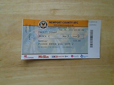 Newport County v Hartlepool used match ticket Jan 28th 2017