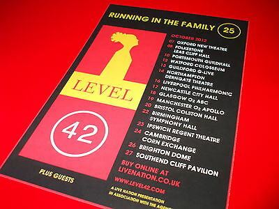 Level 42 - Running In The Family 2012 - Uk Tour Live Concert Flyer !