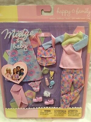 Mattel 2002 - Barbie Happy Family Midge and Baby - Fashion Outfits Clothing New