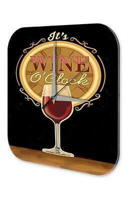 Wall Clock Bar Party Vintage Decoration  Red wine glass time Acrylglas
